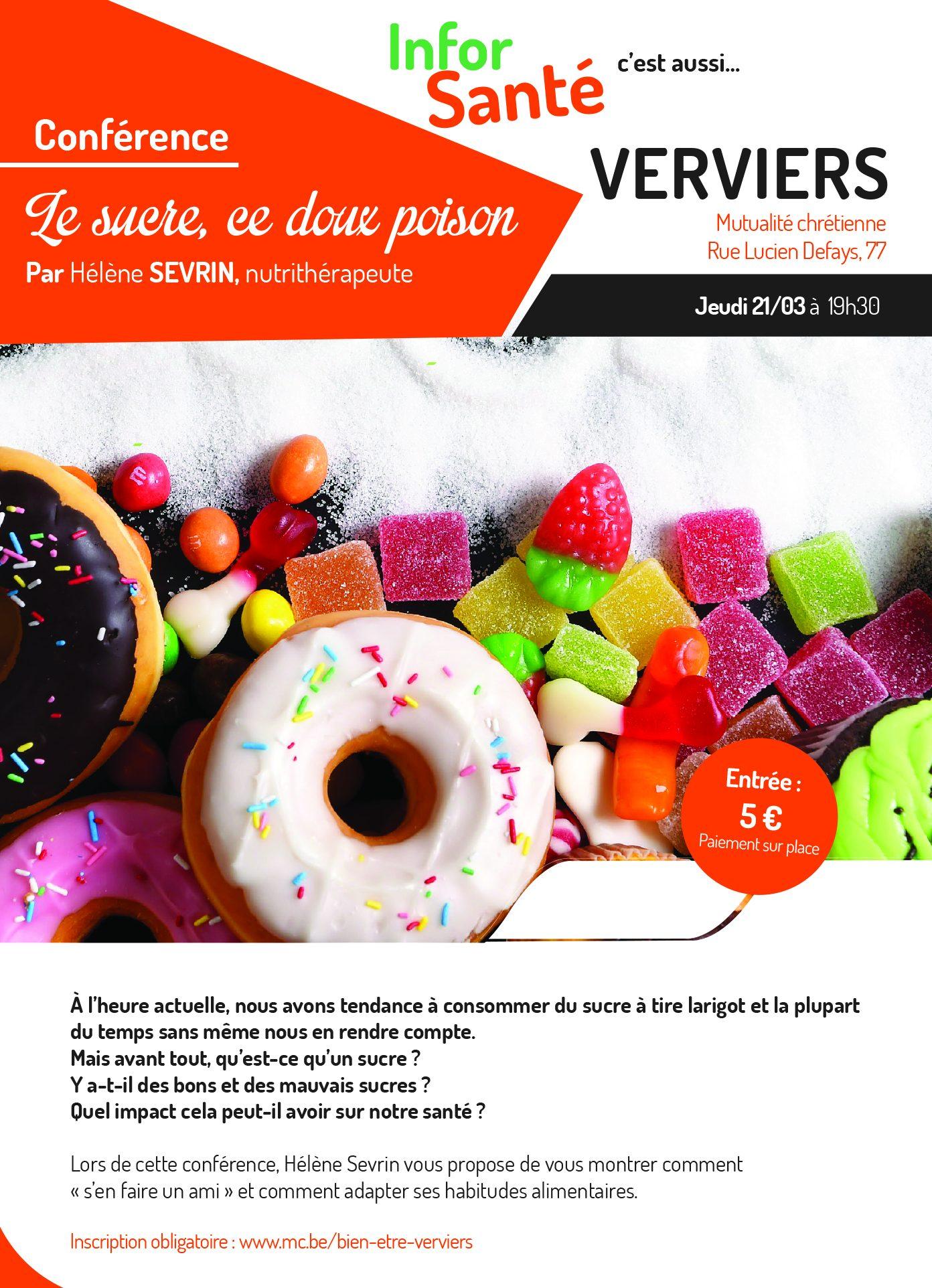 Conférence «Le sucre, ce doux poison» à Verviers
