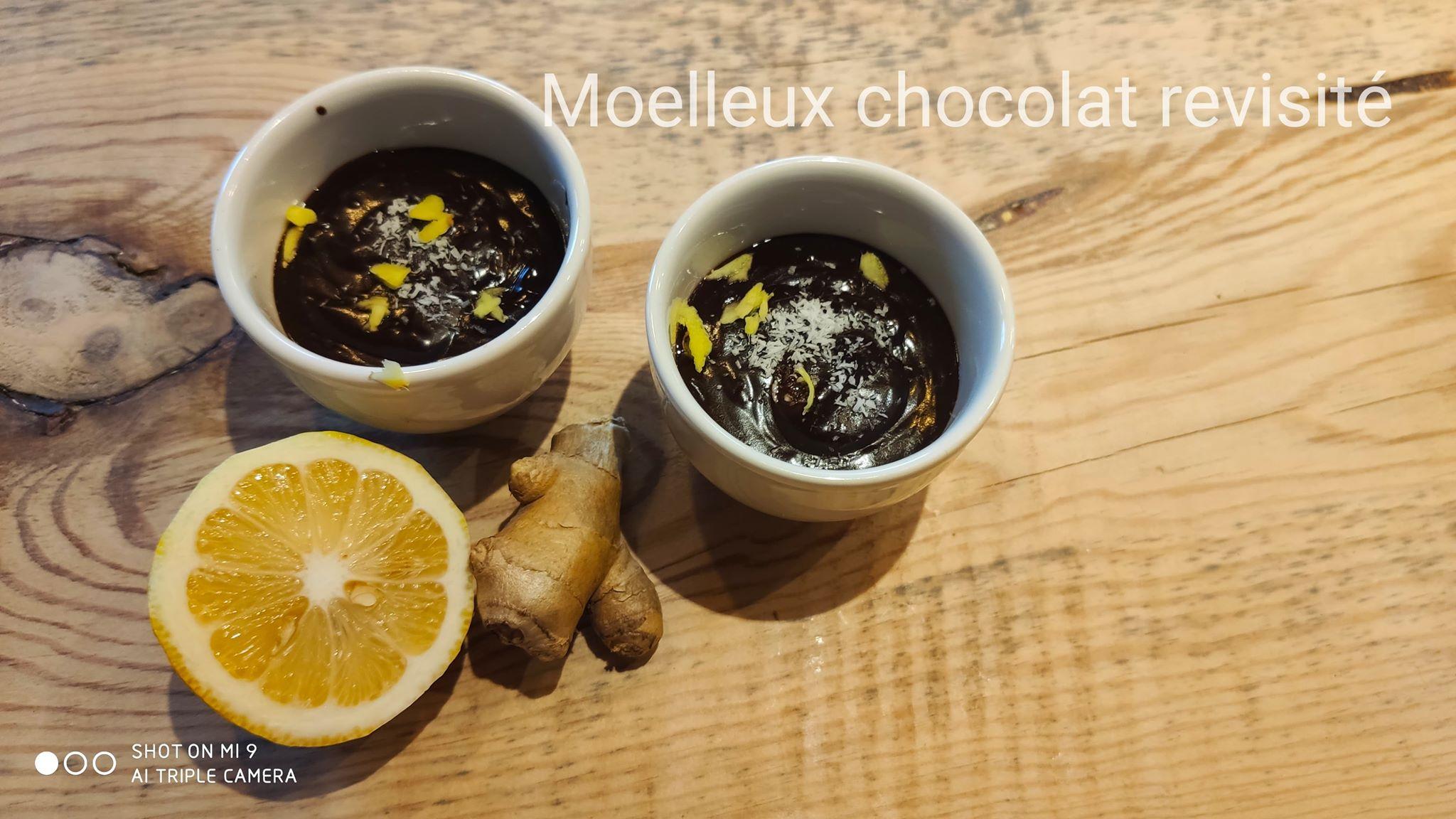Fondant au chocolat gingembre/citron sans sucre ajouté et sans gluten