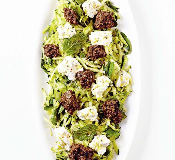 Salade de courgettes et tapenade